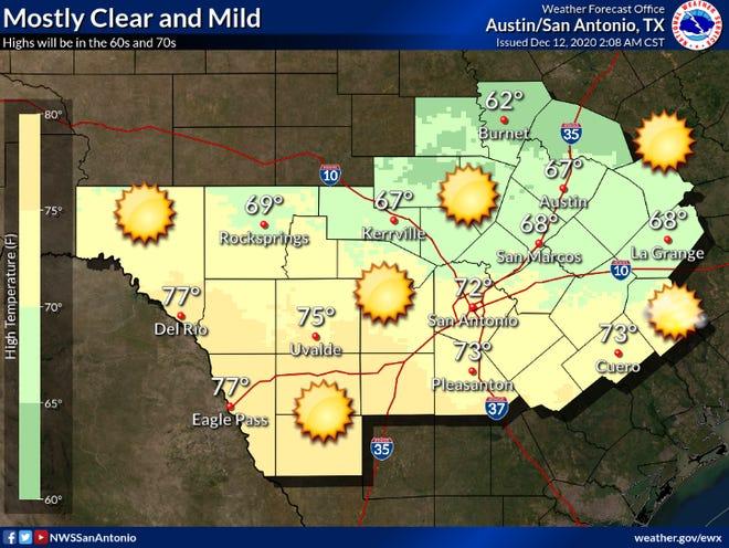Temperatures are expected to peak in the 60s Saturday in Austin.