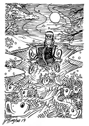 Illustration by Joe Hughes, one of Irv Oslin's longtime canoeing buddies and one of the guys referenced in the poem.