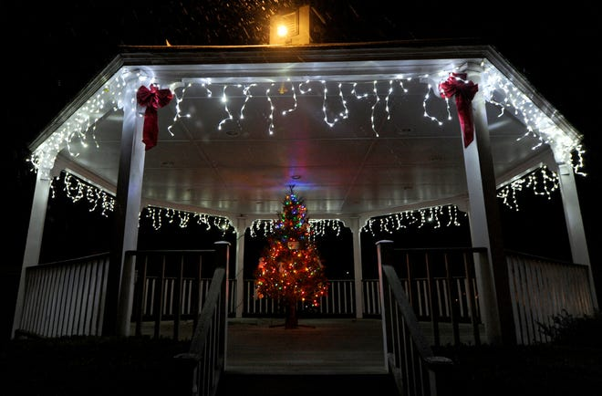 The bandstand in Harwich's Brooks Park is decorated for the holidays.