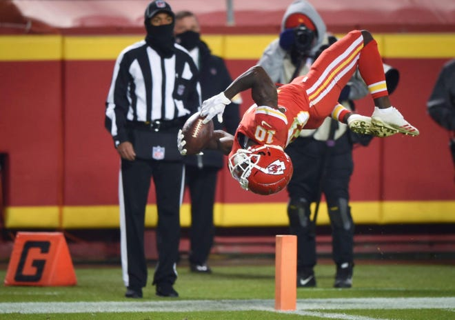 Kansas City Chiefs wide receiver Tyreek Hill (10) does a back flip into the end zone during a game against the Denver Broncos last Sunday at Arrowhead Stadium in Kansas City. The play was called back on a holding penalty.