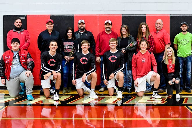 The seniors connected with Chillicothe High School's 2020-21 basketball season and some of their parents were introduced and honored between games of Friday's (Dec. 11) home game against Trenton.
