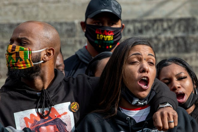 Casey Goodson Jr.'s mother, Tamala Payne, says her son's name  in unison with others at a rally for justice for her son last month at the Statehouse Downtown.