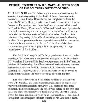 Statement by U.S. Marshal Peter Tobin of the Southern District of Ohio
