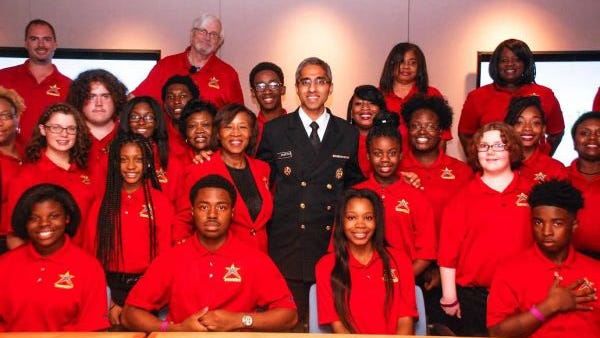 "Vivek Murthy, the physician recently nominated by President-elect Joe Biden to be U.S. Surgeon General is shown here in 2016 with students and leaders of I'm a Star Foundation, a nonprofit Jacksonville-based leadership program for middle and high school students. Murthy, who co-chairs Biden's Transition COVID-19 Advisory board, has described STAR students the ""next generation of leaders"" after they pitched him solutions on childhood obesity."