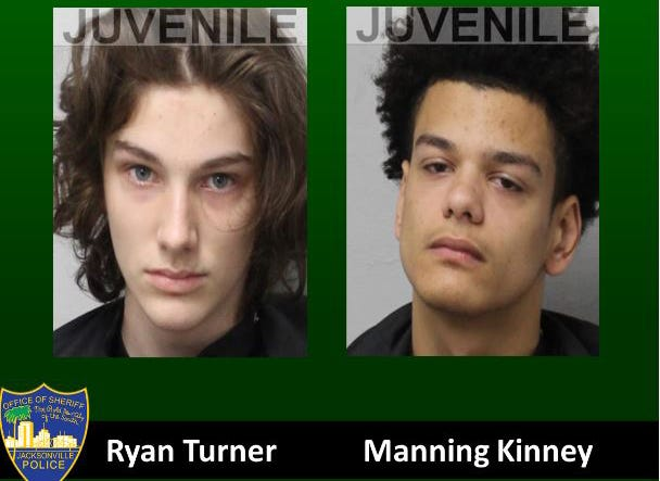Jacksonville police have arrested 14-year-old Ryan Turner (left) and Manning Kinney, 17, in the Oct. 17 shooting death of 18-year-old Laramie Darrell Bowen.
