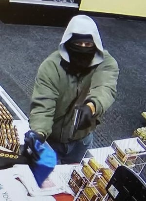 Security camera footage of the suspect who attempted to rob the Kirksville Smoker Friendly shop on Friday night.