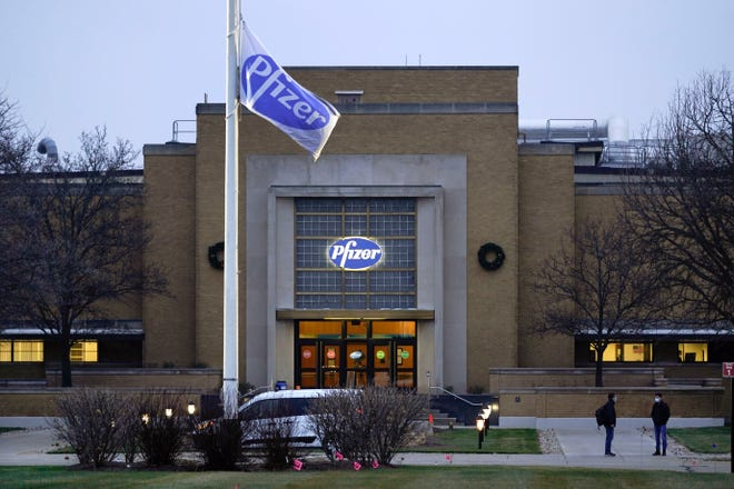 The Pfizer Global Supply Kalamazoo manufacturing plant is shown in Portage, Mich., Friday. Pfizer's COVID-19 vaccine won an endorsement Thursday, Dec. 10, from a Food and Drug Administration panel of outside advisers, and agency signoff is the next step needed to get the shots to the public.