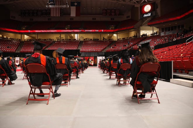 Texas Tech's fall 2020 graduates gathered for limited, socially distanced ceremonies Friday and Saturday in the United Supermarkets Arena.