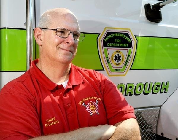 Northborough Fire Chief David Parenti was the first to arrive at a working fire Friday on Colburn Street.