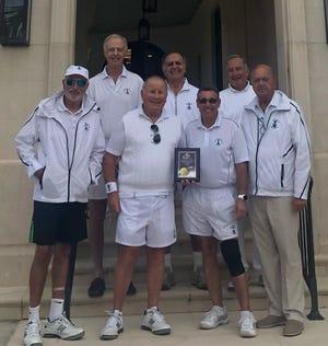 Members of the Palm Beach Net Assets tennis team: Clockwise, from left: Mike Freedman, Neil Aronstam, Tony Pantano, Bill Paladino, Dave Rosenfeld, Mitch Quain and Kirk Ressler.