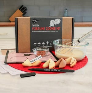 Fortune Cookie Kit comes with everything you need to make your own at home