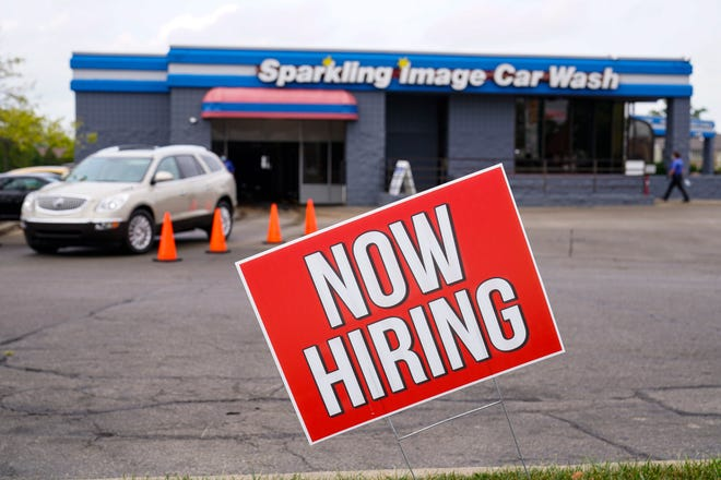 In some areas hiring signs are rare as the number of people applying for unemployment aid earlier this month jumped to 853,000, the most since September.