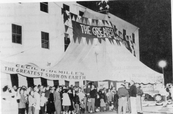 """The Florida Theatre, now the Sarasota Opera House, was decorated to look like a circus tent, for the 1952 Florida premiere of """"The Greatest Show on Earth."""""""