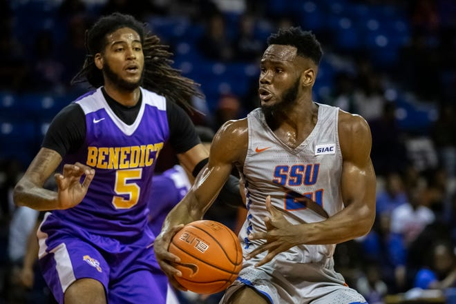 Savannah State's Andrew Okorodudu on the court vs. the Benedict College Tigers at Tiger Arena on Jan. 25, 2020 in Savannah.