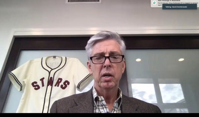 This screengrab from a Zoom call shows David Dombrowski, the Philadelphia Phillies' new president of baseball operations, during a Zoom call on Friday.