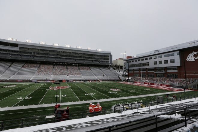 Martin Stadium is seen after the NCAA college football game between Washington State and California was canceled due to COVID-19 positive testing and contact tracing on the California team,  Saturday, Dec. 12, 2020, Pullman, Wash.