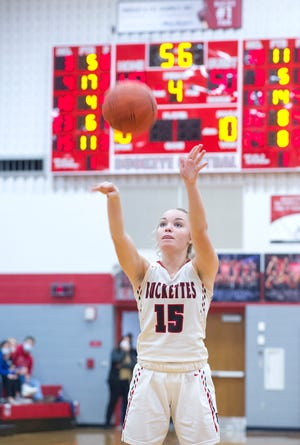 Buckeye Central's Taylor Ratliff makes a free throw with seconds left on the clock to take the game into overtime.