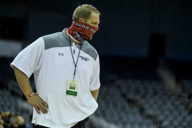 Barr-Reeve Head Coach Josh Thompson watches his team take on the Southridge Raiders during the United Fidelity Bank River City Showcase at Ford Center in Evansville, Ind., Friday, Dec. 11, 2020.