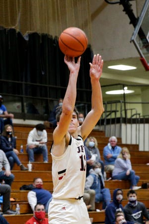 Lafayette Jeff's Brooks Barnhizer (13) shoots during the fourth quarter of an IHSAA boys basketball game, Friday, Dec. 11, 2020 in Lafayette.