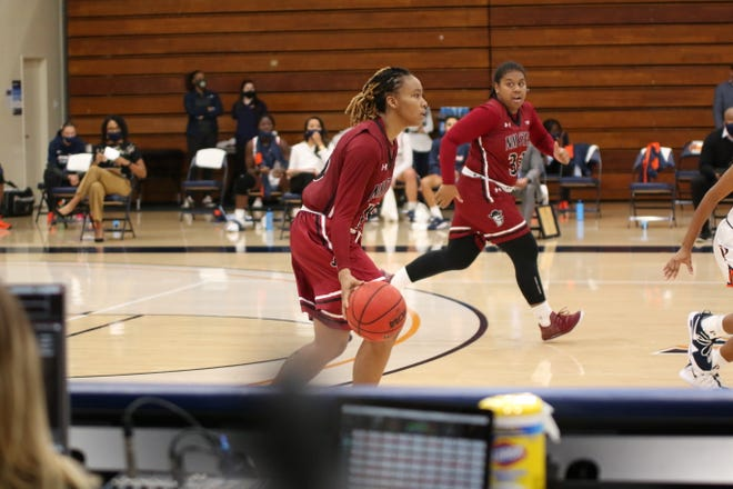 Rodrea Echols dribbles the ball up the court during New Mexico State's road game against Pepperdine on Saturday, Dec. 12, 2020, in Malibu, California.