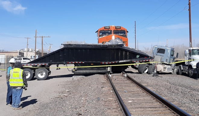 A train and semi-truck collided on the morning of Dec. 12, 2020 in Artesia. No one was injured according to officials.