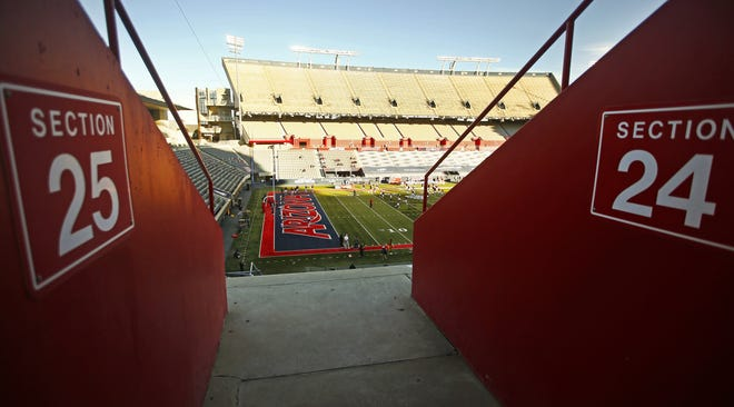 Empty stands just prior to kickoff of the Territorial Cup game between Arizona and Arizona State at Arizona Stadium in Tucson, Ariz. on Dec. 11, 2020.