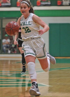 Wall High School's Kylie Phillips dribbles up the court in a game during the 2019-2020 season.
