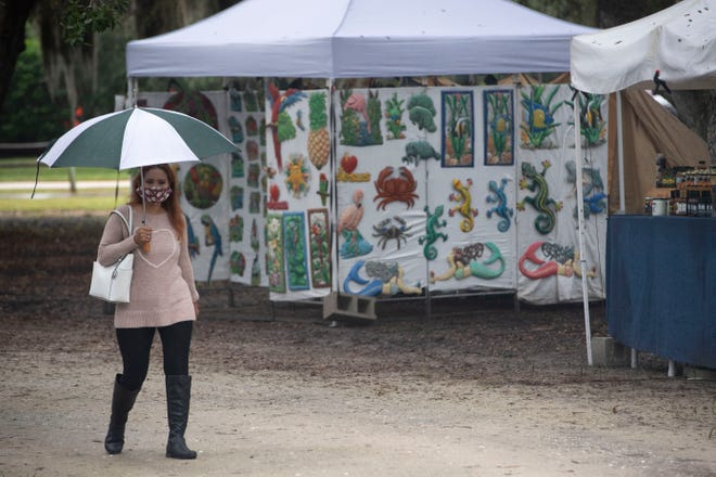 A rainy morning didn't stop some from exploring the Holiday Shopping Fair at Riverside Park on Saturday, Dec. 12, 2020, in Vero Beach. The fair, featuring local art, jewelry, crafts, clothing, treats and more, continues Sunday from 9 a.m to 4 p.m.