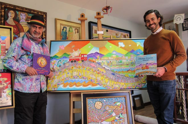 "El Paso artist Hal Marcus, left, and writer Luke Lowenfield have created ""¡Muchas Gracias Maria!"" It is their second book working together. The first was ""Buenas Noches El Paso."" Marcus holds one of his previous books, ""Aunt Alice Alligator's Animal Alphabet Album."""