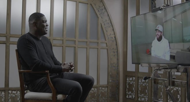 NFL analyst and ESPN radio host Keyshawn Johnson conducts a virtual interview with Cleveland Browns quarterback Baker Mayfield. [Courtesy of ESPN Images]