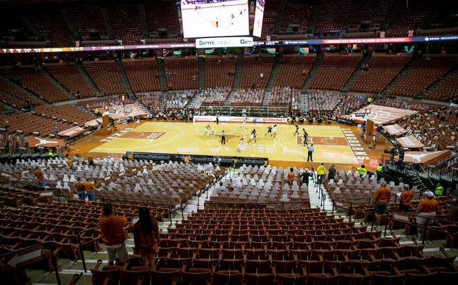 Texas and Idaho play basketball at the Erwin Center on Dec. 9. Sunday's nonconference matchup between Texas and Tennessee was called off hours before the game because of COVID-19 protocols.