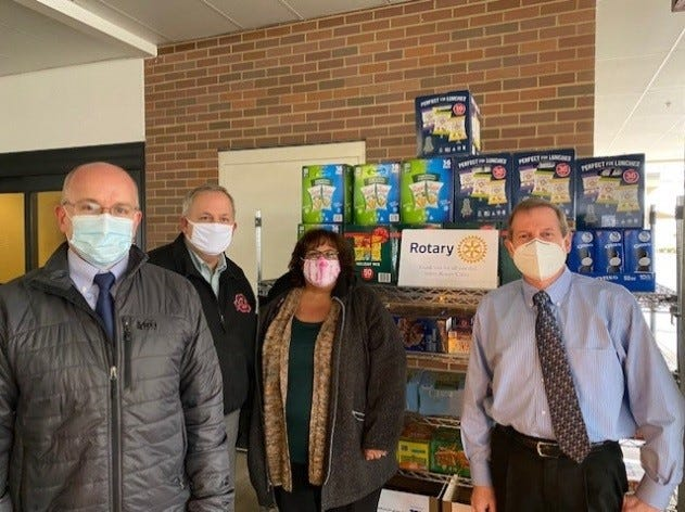 Rotary Club of Salem members donated food to Salem Regional Medical Center staff members who work in the treatment of COVID-19 patients. Those making the donation were, from left, Salem Rotary President John Lundin, Frank Zamarelli, Gina Dermotta and SRMC Chief Radiologist Dr. Peter Apicella.