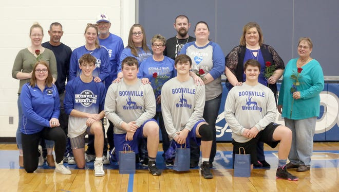 Four members of the Boonville Pirates wrestling team and one manager were recognized during Senior-Parents Night Thursday prior to the match against Warrensburg and Brookfield at the Windsor gymnasium and Boonville High School. The Pirates finished the night at 1-1 by beating Warrensburg 39-30 and losing to Brookfield 51-24.