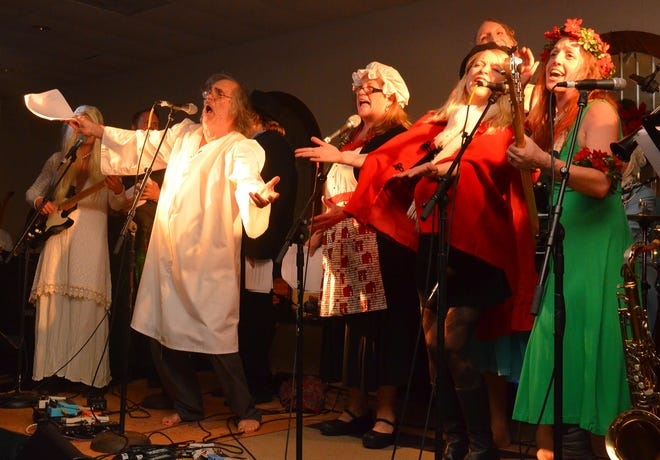 "A ""Christmas Carol"" version at a past Cape Cod Christmas Cavalcade, starring, from left, Sue Lavalee, Chandler Travis, Jodi Birchall, Rikki Bates, Kami Lyle and Emma Levy."