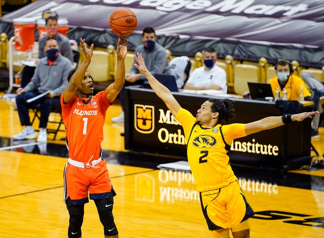 Illinois guard Trent Frazier (1) shoots over Missouri guard Drew Buggs (2) during a game Saturday night at Mizzou Arena.