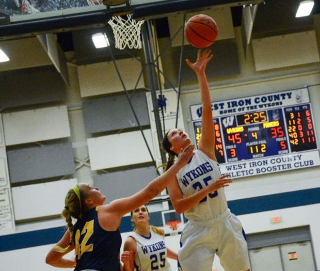 Eden Golliher playing for her high school, West Iron County H.S. in Michigan. Golliher is one of three freshmen on the Minnesota Crookston women's basketball team this season.