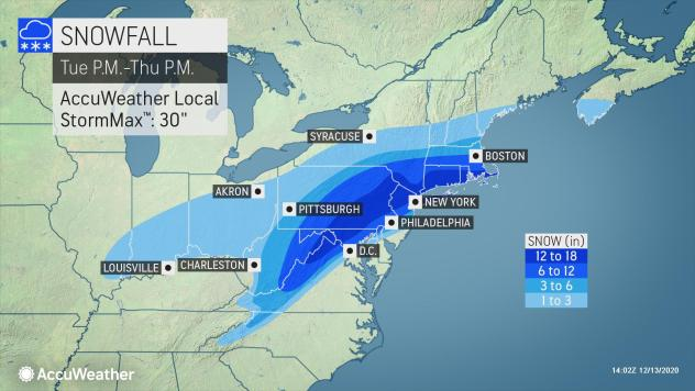 AccuWeather, as of Sunday afternoon, is forecasting anywhere from 6 to 18 inches of snow across southeastern Massachusetts on Dec. 16 and 17.