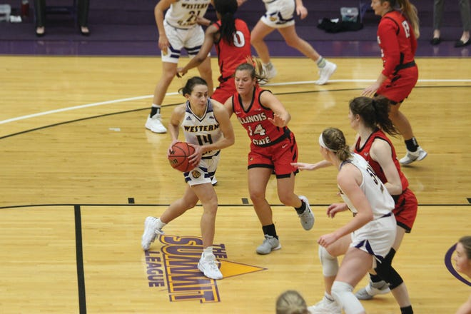 Elizabeth Lutz goes to the basket during a game against Illinois State.