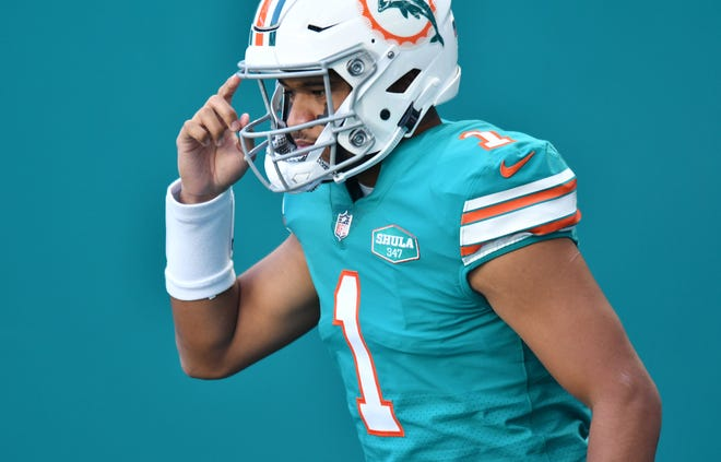 Miami Dolphins quarterback Tua Tagovailoa (1) takes the field for warm-ups before the game against the Kansas City Chiefs at Hard Rock Stadium in Miami Gardens, December 6, 2020.