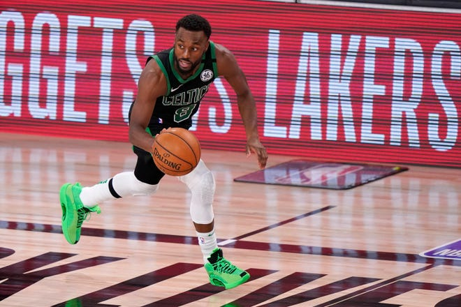 Boston's Kemba Walker brings the ball up the floor in a game against the Miami Heat in the Eastern Conference finals this past September.