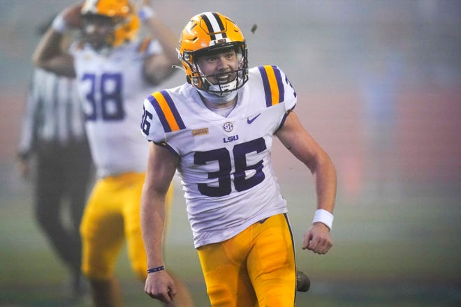 LSU's Cade York celebrates after kicking a field goal against Florida in the final minute of Saturday's upset of Florida.