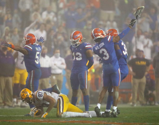 An unsportsmanlike conduct penalty against Florida defensive back Marco Wilson, who threw LSU tight end Kole Taylor's size 14 shoe following a third-down stop. LSU would have punted. Instead, the Tigers got a first down and moved into a long-distance field goal.