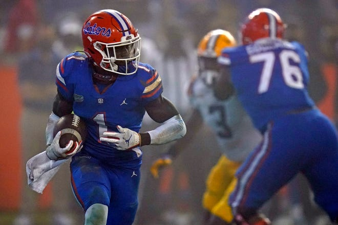 Florida wide receiver Kadarius Toney runs after a reception during the second half Saturday against LSU at Ben Hill Griffin Stadium. Toney had a career-high nine catches for a career-best 182 yards.