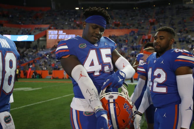 Florida senior tight end Clifford Taylor IV shows a tribute to Gators basketball player Keyontae Johnson during the Gators' game against the LSU Tigers on Saturday, December 12, 2020 at Ben Hill Griffin Stadium in Gainesville, Fla.