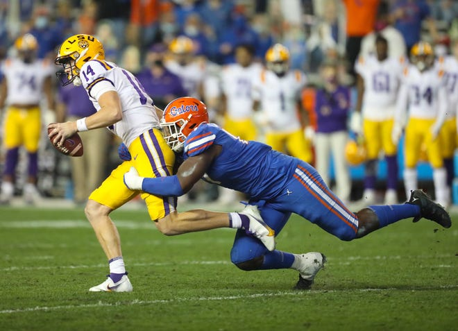 LSU quarterback Max Johnson had a big game last year against Florida at Ben Hill Griffin Stadium.
