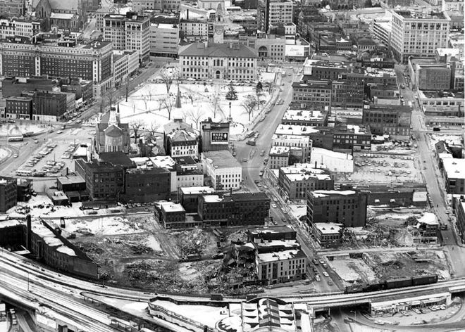 Downtown Worcester in 1968.
