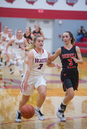 Buckeye Central's Kendra Ackerman drives into the paint after a steal.