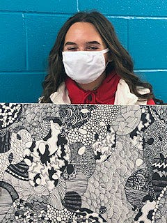Kayla Carr's black and white drawing was purchased by an interior designer after she saw it on Fairfield Freshman School art teacher Colleen Larbes' Instagram page.