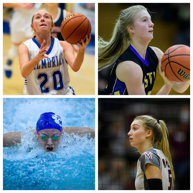 Ryleigh Anslinger (top left), Natalie Niehaus (top right), Elizabeth Broshears (bottom left) and Brooke Jackson (bottom right) are among the nominees for the Courier & Press Female Athlete of the Year