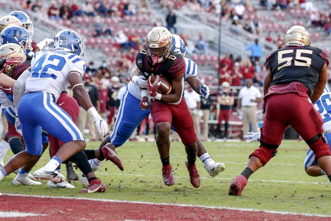 TALLAHASSEE, FL - December 12: Running back Jashaun Corbin #0 of the Florida State Seminoles runs in for a touchdown during the game against the Duke Blue Devils at Doak Campbell Stadium on Bobby Bowden Field on December 12, 2020 in Tallahassee, Florida. The Seminoles defeated the Blue Devils 56 to 35. (Photo by Don Juan Moore/Character Lines)